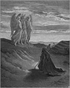 Abraham and the Three Angels (engraving by Gustave Doré)